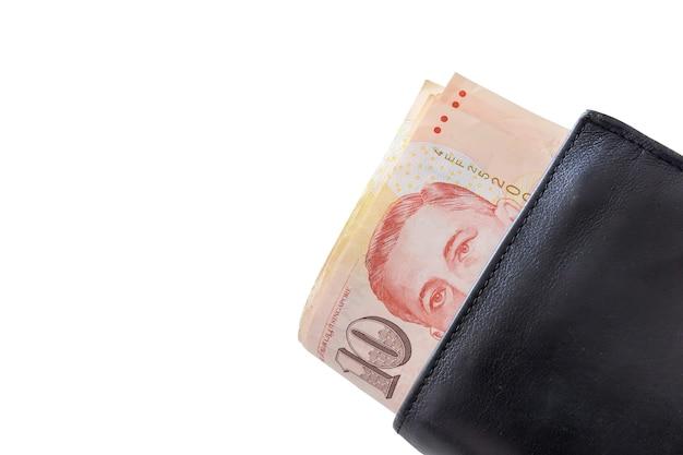Dólares de singapura em uma carteira preta isolada no fundo branco. traçado de recorte