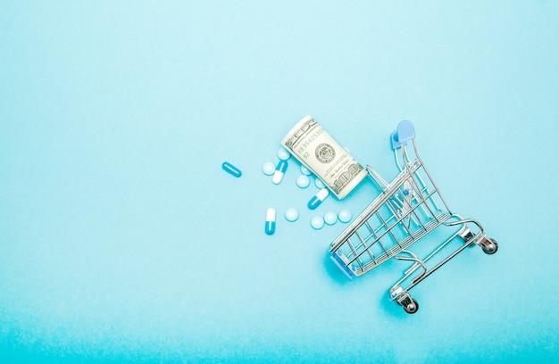 Dólares, pílulas e carrinho de compras em um azul.