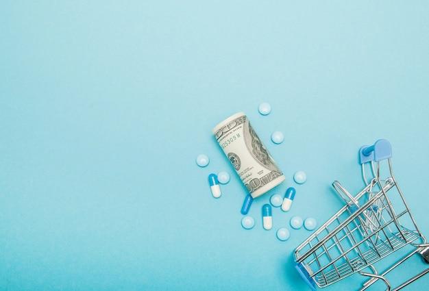 Dólares, pílulas e carrinho de compras em uma parede azul. conceito de farmácia. copie o espaço