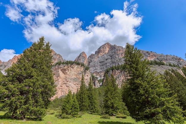 Dolomitas italianas no verão sob céu azul e floresta fresca