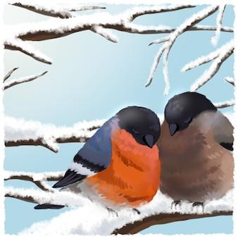 Dom-fafe e pardal pousam em galho coberto de neve, bom para o inverno