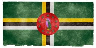 Dominica bandeira do grunge antigo