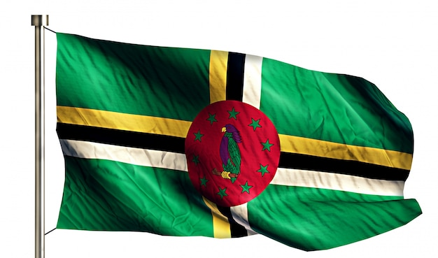 Dominica national flag isolated 3d fundo branco
