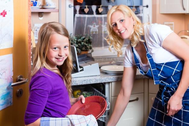 Dona de casa e filha lavando pratos com máquina de lavar louça