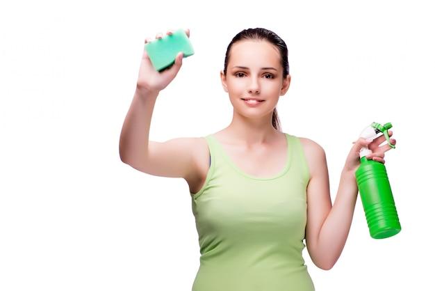 Dona de casa jovem no conceito de limpeza