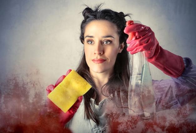Dona de casa, limpando a janela