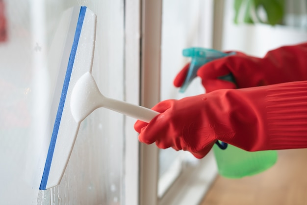 Dona de casa limpeza home conceito. limpador de pulverização da mulher à janela.