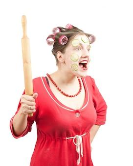 Dona de casa louca em branco