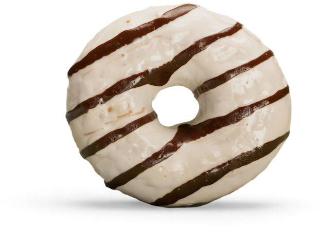 Donut anel de açúcar isolado no fundo branco