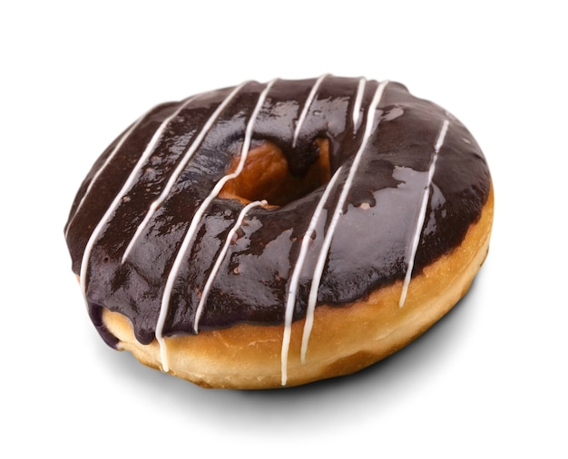 Donut gelado de chocolate doce isolado no branco