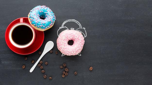 Donuts com conceito de despertador