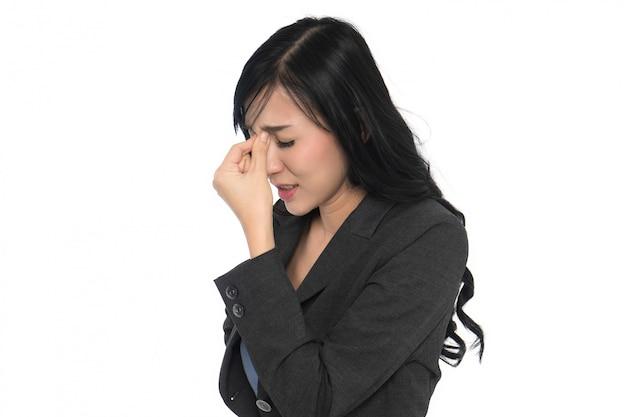 Dor de cabeça de mulher de negócios