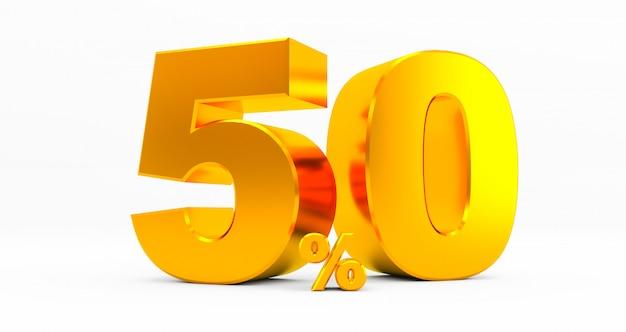 Dourado cinquenta por cento em um fundo branco. venda de ofertas especiais. desconto com o preço é de 50%. renderização em 3d