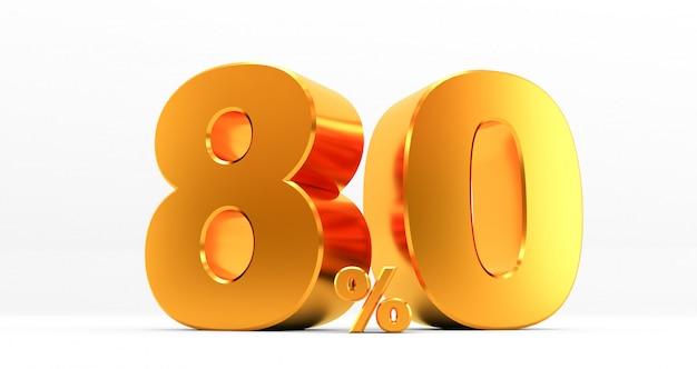 Dourado oitenta por cento em um fundo branco. venda de ofertas especiais. desconto com o preço é de 80%. renderização em 3d