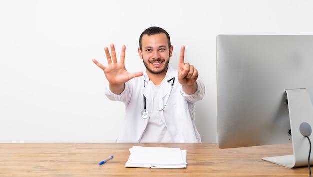 Doutor, colombiano, contagem, seis, dedos