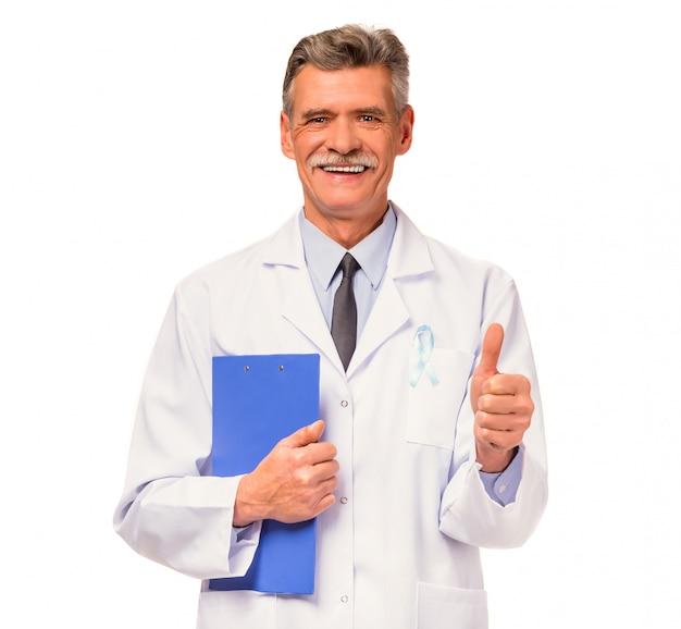 Doutor, com, um, fita azul