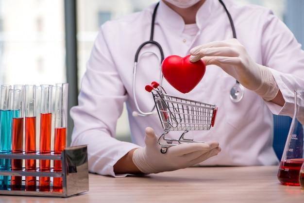 Doutor, cura, coração, em, conceito médico