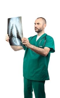 Doutor, examinando, um, peito, raio x
