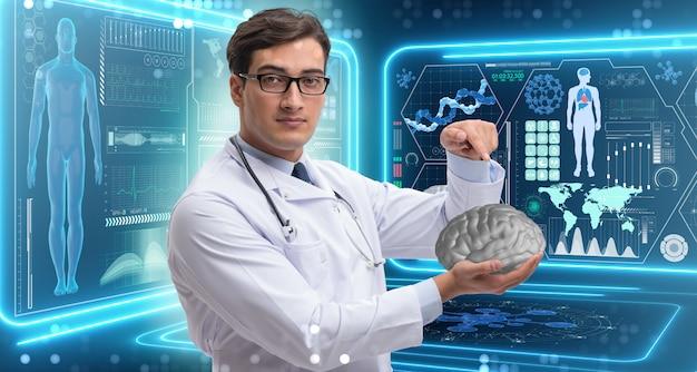 Doutor masculino, segurando, um, cérebro