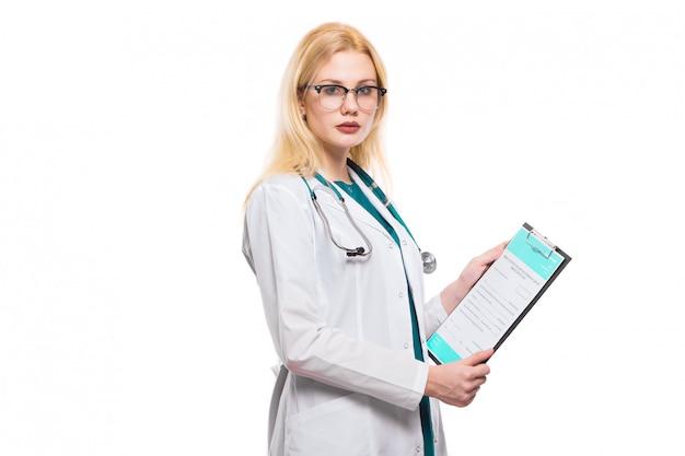 Doutor mulher, com, estetoscópio, e, área de transferência