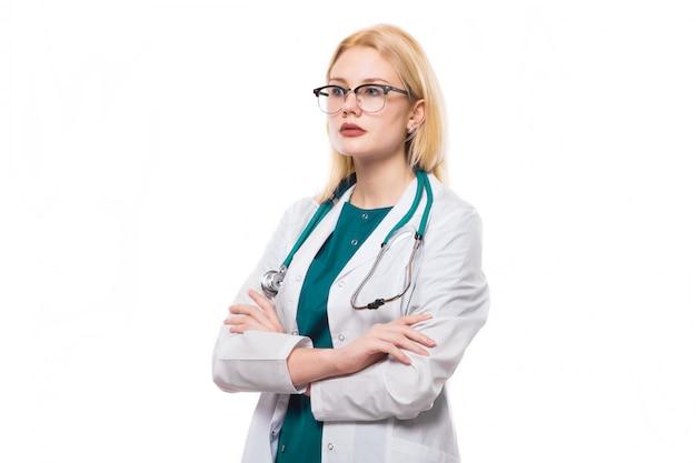 Doutor mulher, com, estetoscópio