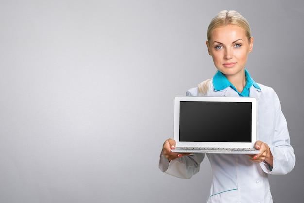 Doutor mulher, com, laptop