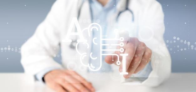 Doutor, segurando, inteligência artificial, ícone, com, metade, cérebro, e, meio, circuito, 3d, fazendo
