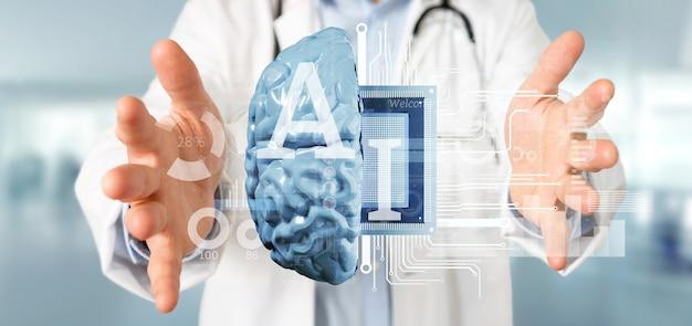 Doutor, segurando, inteligência artificial, ícone, com, metade, cérebro, e, metade, circuito