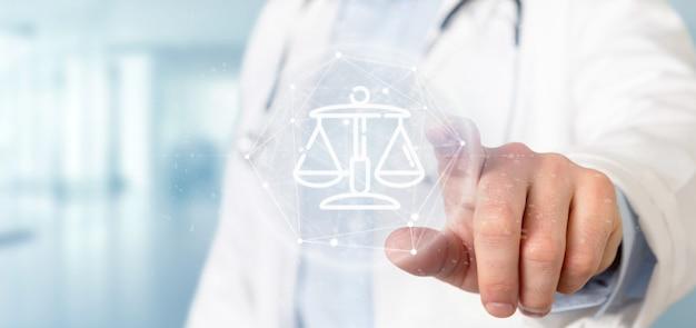 Doutor, segurando, nuvem, de, justiça, e, lei, ícone, bolha, com, dados, 3d, fazendo