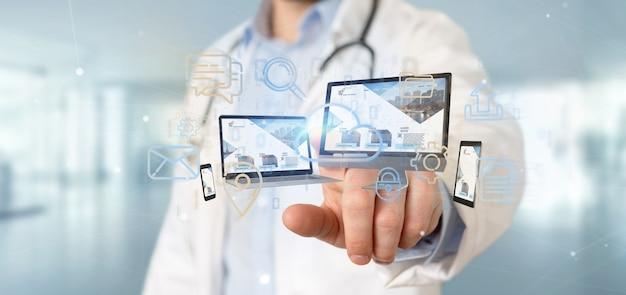 Doutor, segurando, um, dispositivos, conectado, para, um, nuvem, multimedia, rede, 3d, fazendo