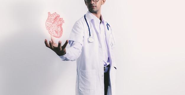 Doutor, segurando, virtual, coração