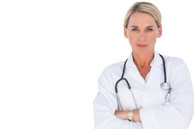 Doutor, sorrindo, com, dela, braços cruzaram