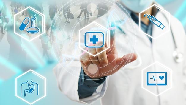 Doutor tocando a interface médica do ícone digital, conceito de rede de tecnologia médica
