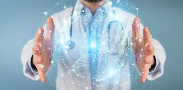Doutor, usando, mapa europa, globo, rede, holograma