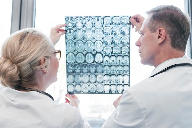 Doutores, analisando, um, radiografia