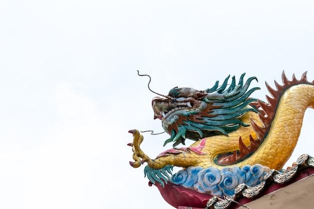 Dragão duplo no telhado do templo chinês