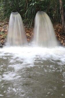 Drenagem de água, drene o fluxo para o canal.