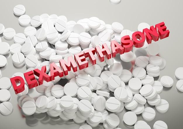 Droga corticosteróide dexametasona, pilha de comprimidos brancos com letras.