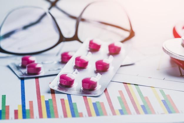 Droga, pílulas e óculos com estetoscópio na mesa de laboratório
