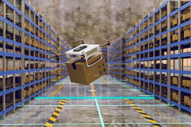 Drone automático trabalhando em armazém para selecionar produto e renderização de ilustração 3d de caixa de pacote