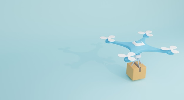 Drone com caixa de carga em fundo azul. perfeito para banner de compras