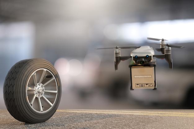 Drone com pneu carro medida de quantidade pneus de borracha inflados carro. feche a mão segurando a máquina medidor de pressão inflado para medição de pressão de pneu de carro para imagem de automóvel automotivo