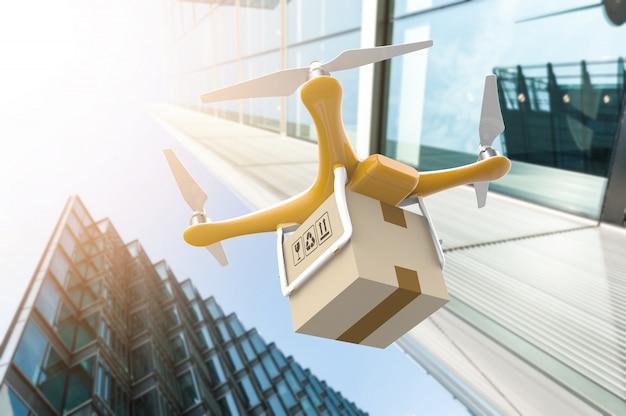 Drone com um pacote de caixa de entrega em uma cidade moderna