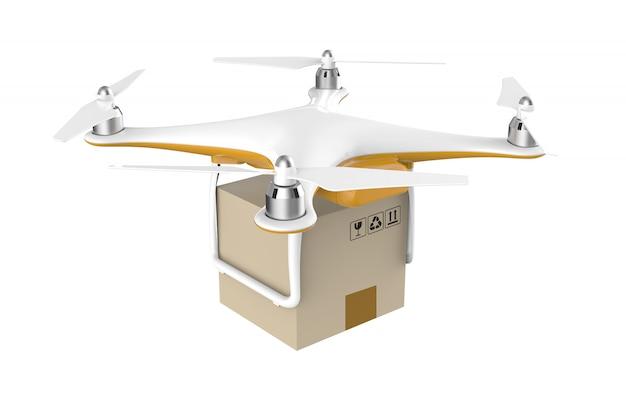 Drone com um pacote de caixa de entrega