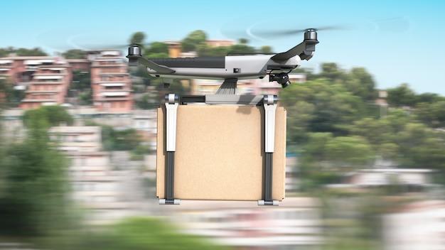Drone de carga voadora transporta uma caixa de papelão.
