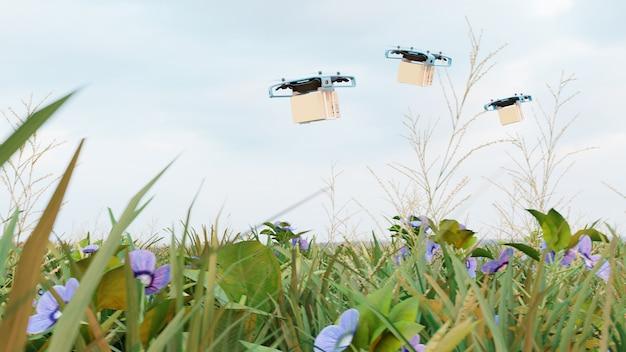 Drone de entrega com a caixa de papelão, conceito de entrega rápida drone. renderização 3d