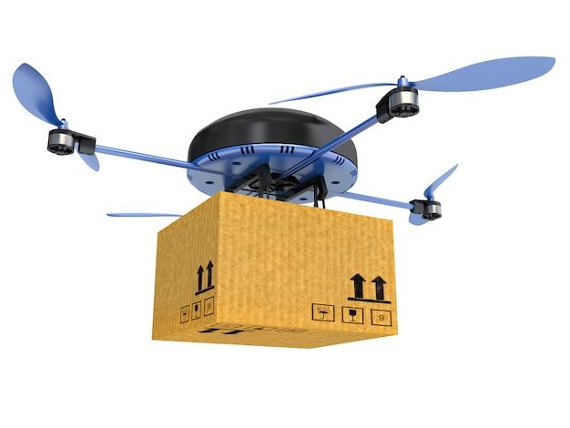 Drone de entrega com o pacote isolado