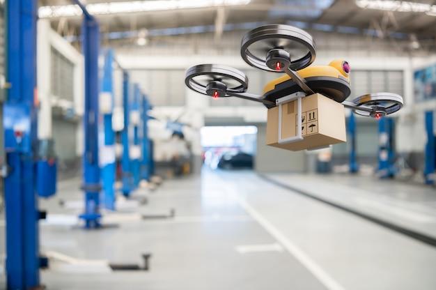 Drone de entrega de peças de reposição no armazenamento de garagem no principal centro de serviços automotivos