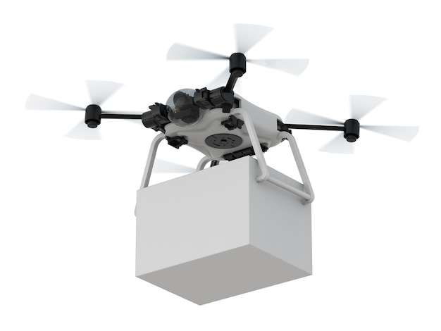 Drone de entrega de renderização 3d com caixa branca