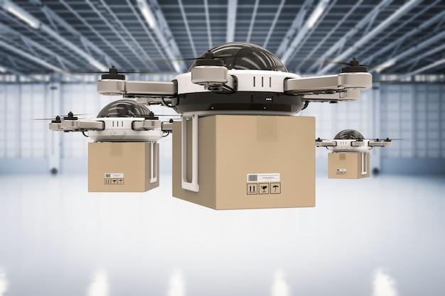 Drone de entrega de renderização 3d no armazém
